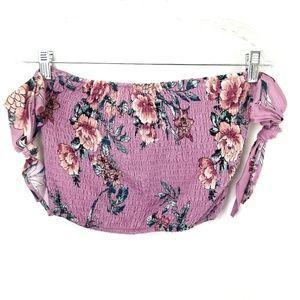4/$25 Pink floral print off shoulder crop top